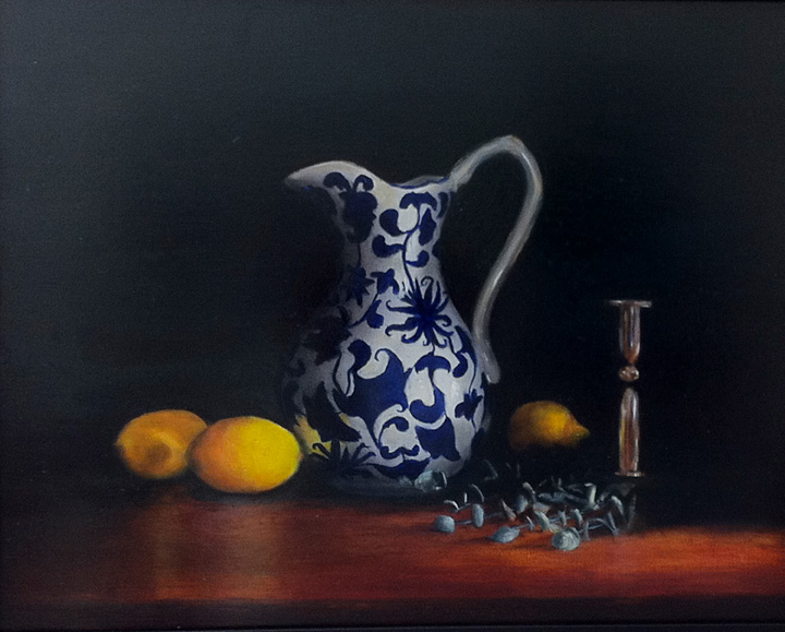 Blue and White Vase With Lemons