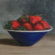 Strawberries in Blue Bowl